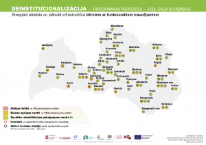 Deinstitucionalizācijas progresa karte - palīdzības vietas Latvijā bērniem ar funkcionāliem traucējumiem