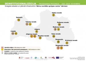 Deinstitucionalizācijas progresa karte - palīdzības vietas Latvijā ārpusģimenē augošiem jauniešiem