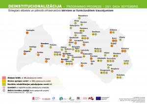 Deinstitucionalizācijas projekta infrastruktūras progresa karte bērniem ar funkcionāliem traucējumiem