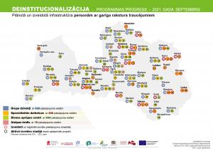 Deinstitucionalizācijas projekta infrastruktūras attīstības karte pieaugušajiem ar garīga rakstura traucējumiem