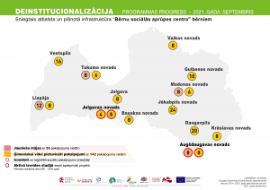 Deinstitucionalizācijas progresa karte attiecībā uz uzbūvētajiem objektiem ārpusģimenes aprūpē esošiem bērniem
